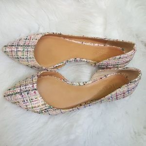 J CREW tweed pointy d'orsay flats 7